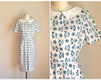 vintage 1940s novelty dress - BLUE VASES  40s day dress / XS-S