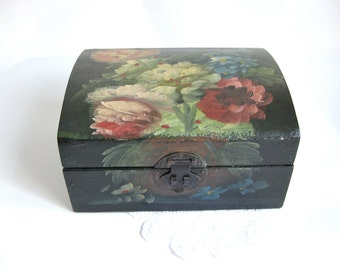 Floral Tole Painted Wooden Chest
