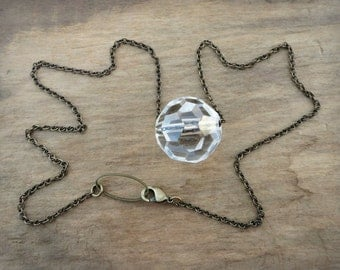 Glass Crystal Chain Necklace, rustic yet elegant faceted glass crystal sphere necklace on dainty antiqued brass chain