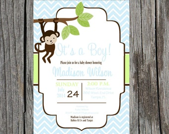 Printed Jungle Baby Shower Invitation, monkey baby shower invitation, monkey, baby boy shower, boy