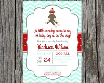 Printed sock monkey Baby Shower Invitation, monkey baby shower invitation, sock monkey baby boy shower, boy