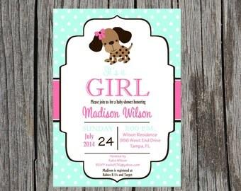 Puppy Baby Shower Invitation, puppy invitation, puppy dog baby shower, baby girl shower, DIY and printable