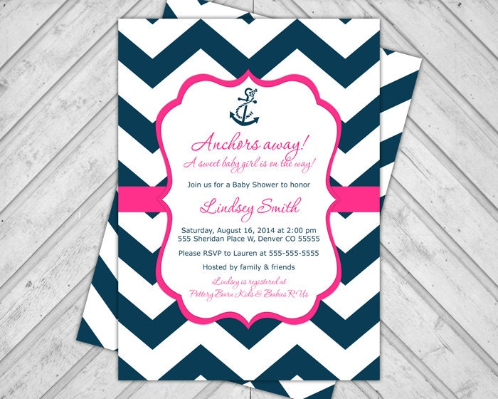baby girl nautical baby shower invite navy by alittletreasure