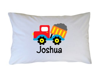 Dump Truck Pillow Case Personalized