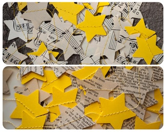 Twinkle Little Star Garland - 3 yards - Yellow with Vintage Dictionary or Vintage Music Paper Stars - Ready to Ship