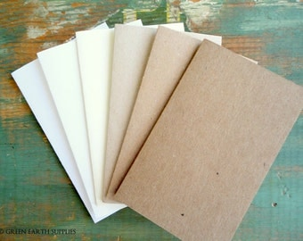 "100 Rustic Place Cards/Escort Cards: Recycled placecards, Tent cards, 2.5""x4"", 2.5""x3.5"", 2""x3.5"", kraft brown, light brown, white, ivory"
