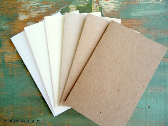 """100 Rustic Place Cards / Escort Cards: Recycled placecards, Tent cards, 2.5""""x4"""", 2.5""""x3.5"""" or 2""""x3.5"""" kraft brown, light brown, white, ivory"""