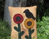 Penny Rug Pillow- Primitive Flowers and Black Crow Pillow