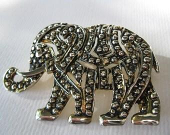 Vintage Lucky Trunk Up Elephant Brooch