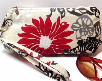 Clutch, Wristlet, Detachable Strap, Flower Print, Ready To Ship
