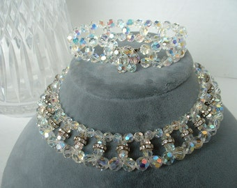 Demi Parure Aurora Borealis Faceted Crystal & Channel Rhinestone Beaded  Necklace Matching Bracelet VINTAGE SET