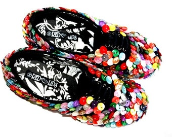SALE Girls Snickers Shoes Black  full of multicolored buttons size 4 and 5 US