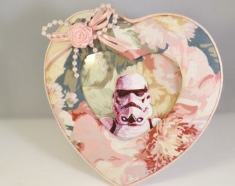 Stormtrooper Cameo Miniature Portrait in floral heart vintage frame, hand painted