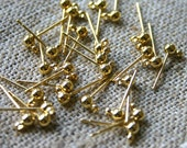 50pcs Earrings Findings Gold-Plated 3mm Ball Post with Loop Earpost Earstud