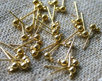50pcs Earrings Findings Gold-Plated 3mm Ball Post with Loop Earpost Earstud