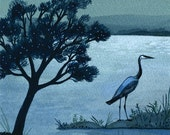 blue heron sympathy card