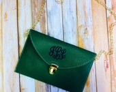 Envelope Latch Clutch Purse with Monogram