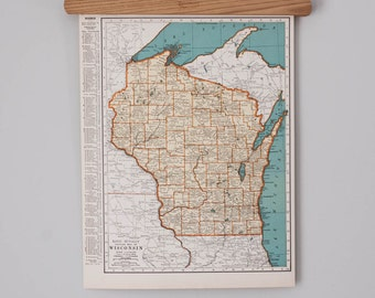 1930s Antique State Map of Wisconsin and West Virginia