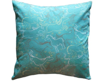 Romping Horses 14 x 14 inch Pillow Cover in Teal and Mocha