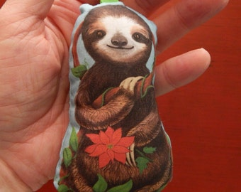 Baby Sloth Stuffed Fabric Christmas Ornament