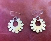 Artisan jewelry, handmade sun flower earrings, silver and brass.