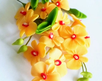 Handmade Polymer Clay Flowers Supplies Orange Dendrobium, Orchid with leaves, 3 sets