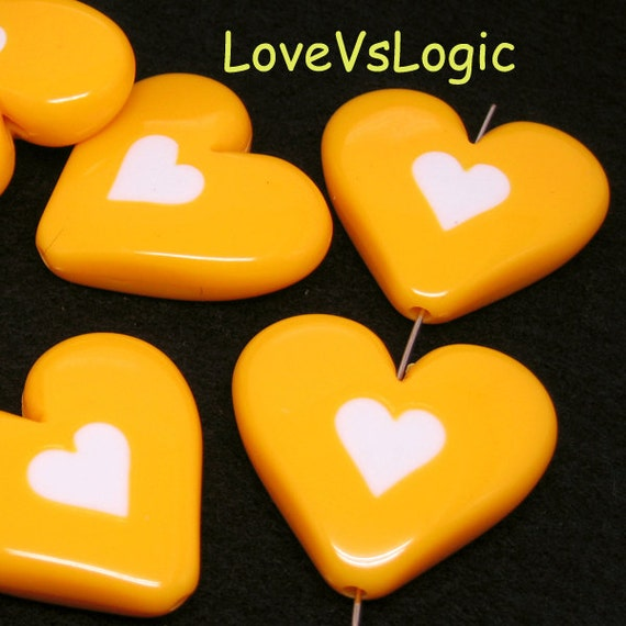4 Huge Acrylic Puff Heart Beads.Dull Yellow with White Heart