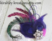 ADARIA -- Purple Peacock and Sword Feather Fascinator with Fuchsia Pink Wedding Headpiece Hair Clip with Rhinestone for Bridesmaids and Prom