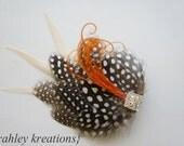 HENLEY -- Fall Rustic Harvest Wedding Bride Bridesmaid Hairpiece Hair Clip Burnt Orange Pumpkin Ivory & Speckled Polka Dot Guinea Feathers