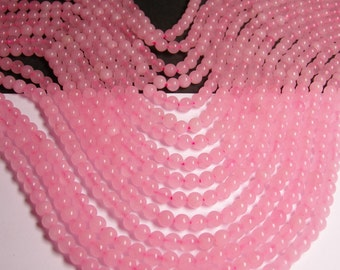 Pink Jade -  6mm (6.4mm) round beads -1 full strand - 62 beads - color pink Jade - RFG957