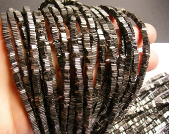 Hematite grey - 4mm x 1mm heishi square slice beads - full strand - 400 beads - A quality - PHG18