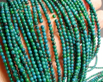 Chrysocolla - 3mm round beads -1 full strand 136 beads - reconstituted