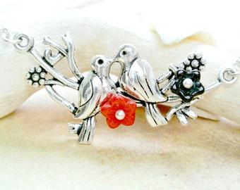 Love Birds Necklace, Birds on Branch Necklace