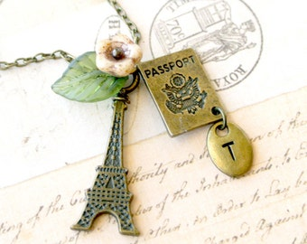 Paris Eiffel Tower Necklace,Eiffel Tower with Passport Jewelry, Paris Eiffel Tower Initial Necklace, Initial Hand Stamped Necklace