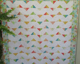Modern Baby Girl Quilt, Summer Breeze Baby Girl Quilt, Baby Girl Crib Quilt by Dreamy Vintage Sheets