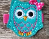 Turquoise Owl Felt Hair Clip Barrette - No Slip Grip