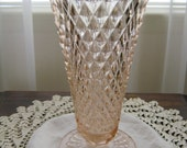Vintage Pink Depression Glass Trumpet Flower Bouquet Diamond Pattern Vase