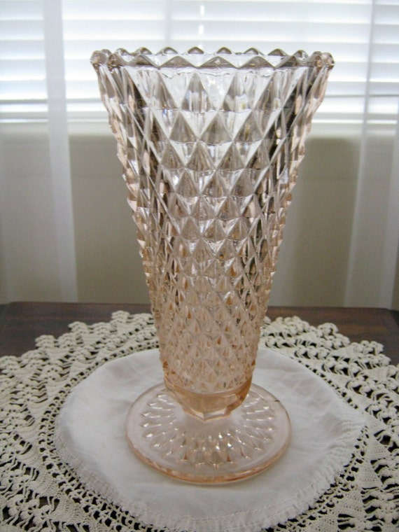 Vintage Pink Depression Glass Trumpet Flower Bouquet Diamond