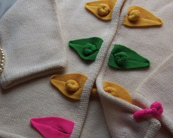 Vintage 60s Toggle Button Cardigan by Thayer Sophisticates with Bright Knit Toggles