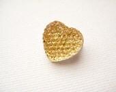 Rhinestone resin heart brooch pin - Disco Heart in Yellow