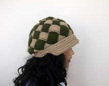 Beige and Green Slouchy Newsboy Cap -Button- Handmade-Knitted newsboy brimmed slouch hat