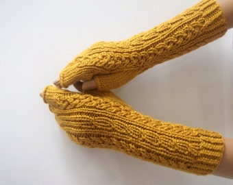 Mustard Yellow Half Finger- Fingerless Gloves