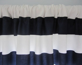 2 Curtains, Valances, Window Curtains, Set of 2 Navy Blue and White Horizontal Stripe Curtain Valances 50 x 18