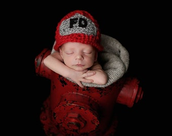 Newborn Fireman Hat/ Crochet Fireman Hat/ Firefighter Helmut/ Newborn Firefighter