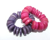 25 Purple Tagua Beads Rondells, 11mm, Vegetable Ivory Beads, Eco Friendly Beads, Natural Beads, Organic Beads, EcoBeads