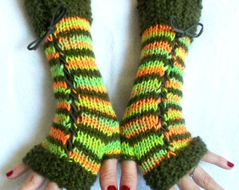 Women Fingerless Corset Gloves Arm Warmers in Orange Green Tones Wool Angora Mohair