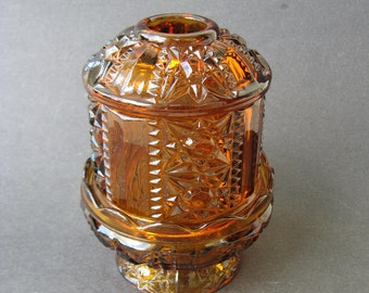 Amber Indiana Glass Candle Holder
