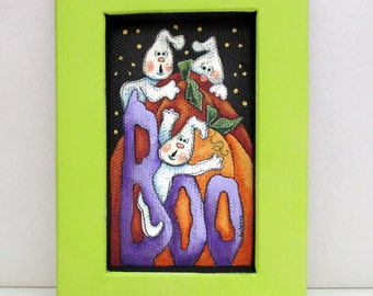 Halloween Ghosts with Pumpkin and BOO Sign, Ghost, Pumpkins, Boo Sign, Framed in Reclaimed Wood Frame, Yellow Green Frame, Hand Painted