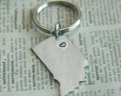 Hand Stamped State Personalized Keyring - Longitude Latitude Hometown Pride Keychain By Inspired Jewelry Designs