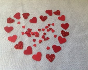 Red Glitter Mix Heart Confetti - 125 pieces